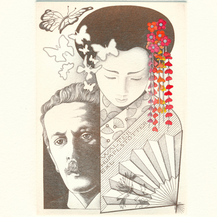 Ex libris dedicato a Walter Humplstotter - Puccini - Madame Butterfly